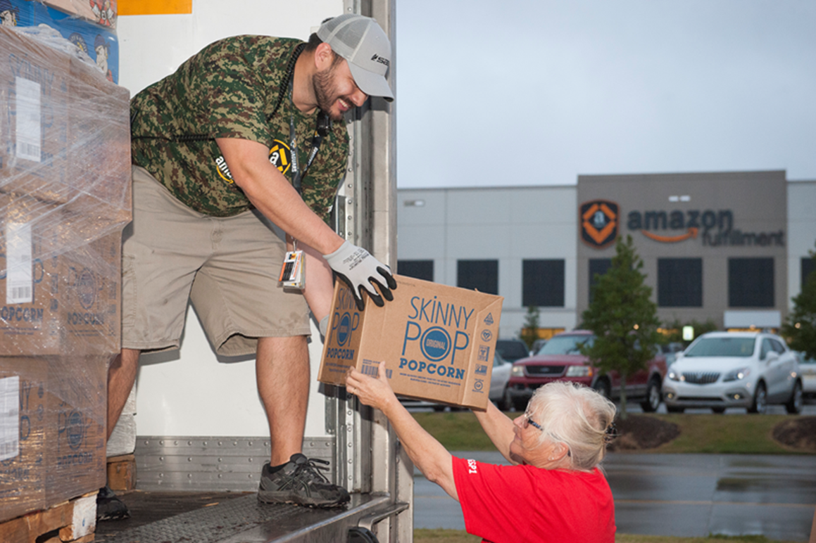 Employees at the local fulfillment center in Spartanburg amassed 55 pallets of food, water and other essentials which totaled nearly $50,000 worth of supplies. (Photo provided)