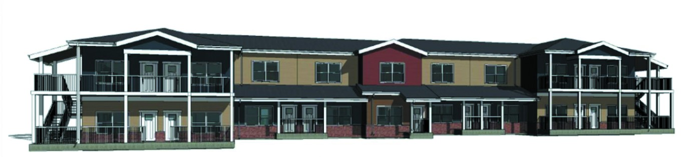 BMarko's first affordable housing complex built from prefabricated modules, shown here, will be constructed in Spartanburg. (Rendering/Provided)