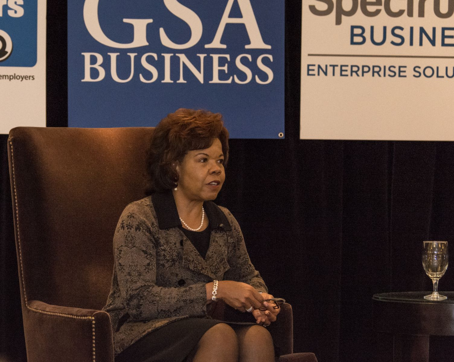 Brenda Thames, vice president for academic and faculty affairs at GHS and incoming chairwoman of the Greenville Chamber of Commerce Board of Directors gave the keynote address at the GSA Business Report Power Event in Greenville. (Photo by Kathy Allen)