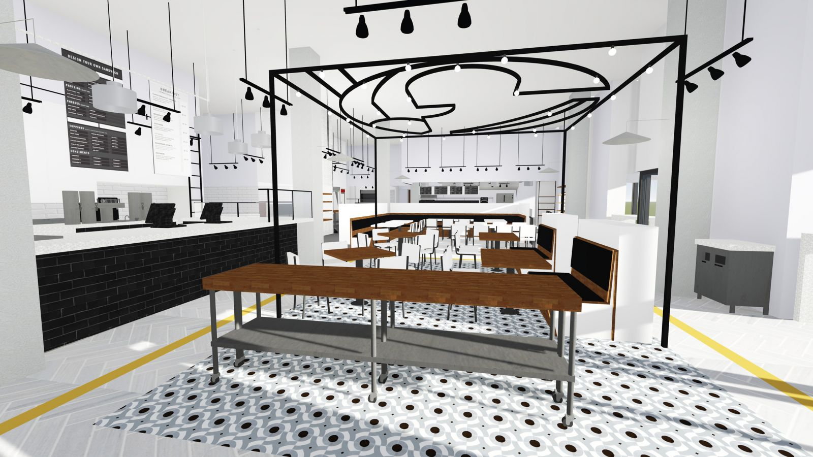 Rendering of the interior of the planned Caviar & Bananas, a restaurant from owners Kris and Margaret Furniss. The restaurant is scheduled to open in One City Plaza on Aug. 5. (Image/Provided)