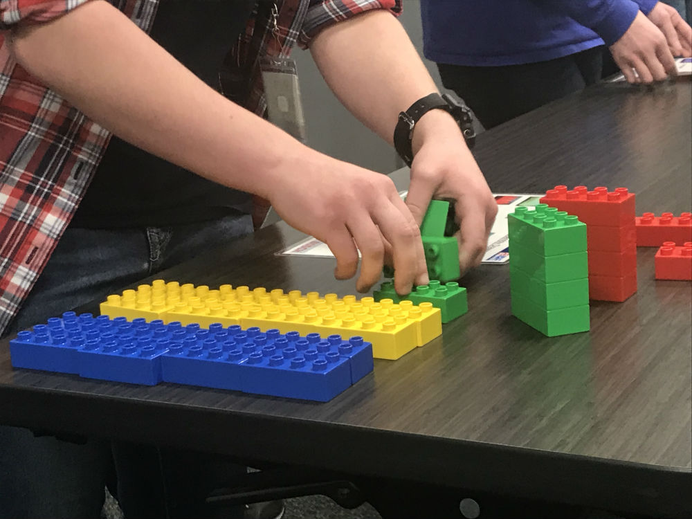 Bosch Anderson hosted its third annual interactive STEM event for ninth grade girls in Anderson County on Wednesday. Students used Legos to learn assembly line processes. (Photo/Teresa Cutlip)