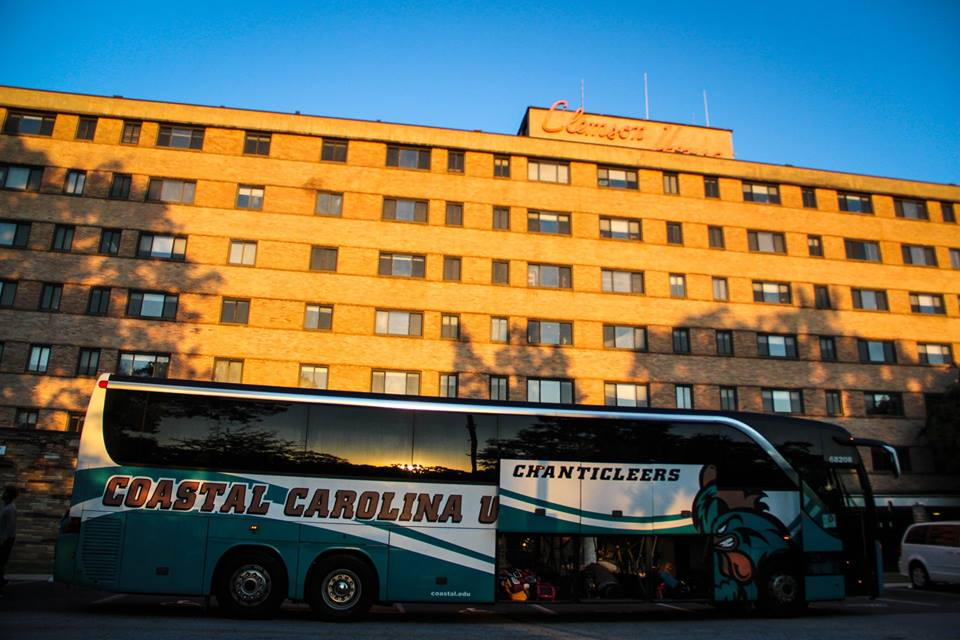 Students from Coastal Carolina Univesrity arrives at Clemson Wednesday to ride out Hurricane Matthew. (Photo provided)