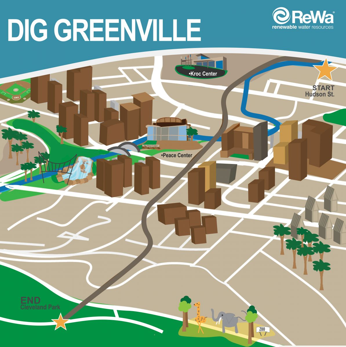 This is a map outlining the Dig Greenville project, a $46 million sewer tunnel being constructed by Renewable Water Resources under downtown Greenville. The company said the project is necessary to increase line capacity. (Map provided)
