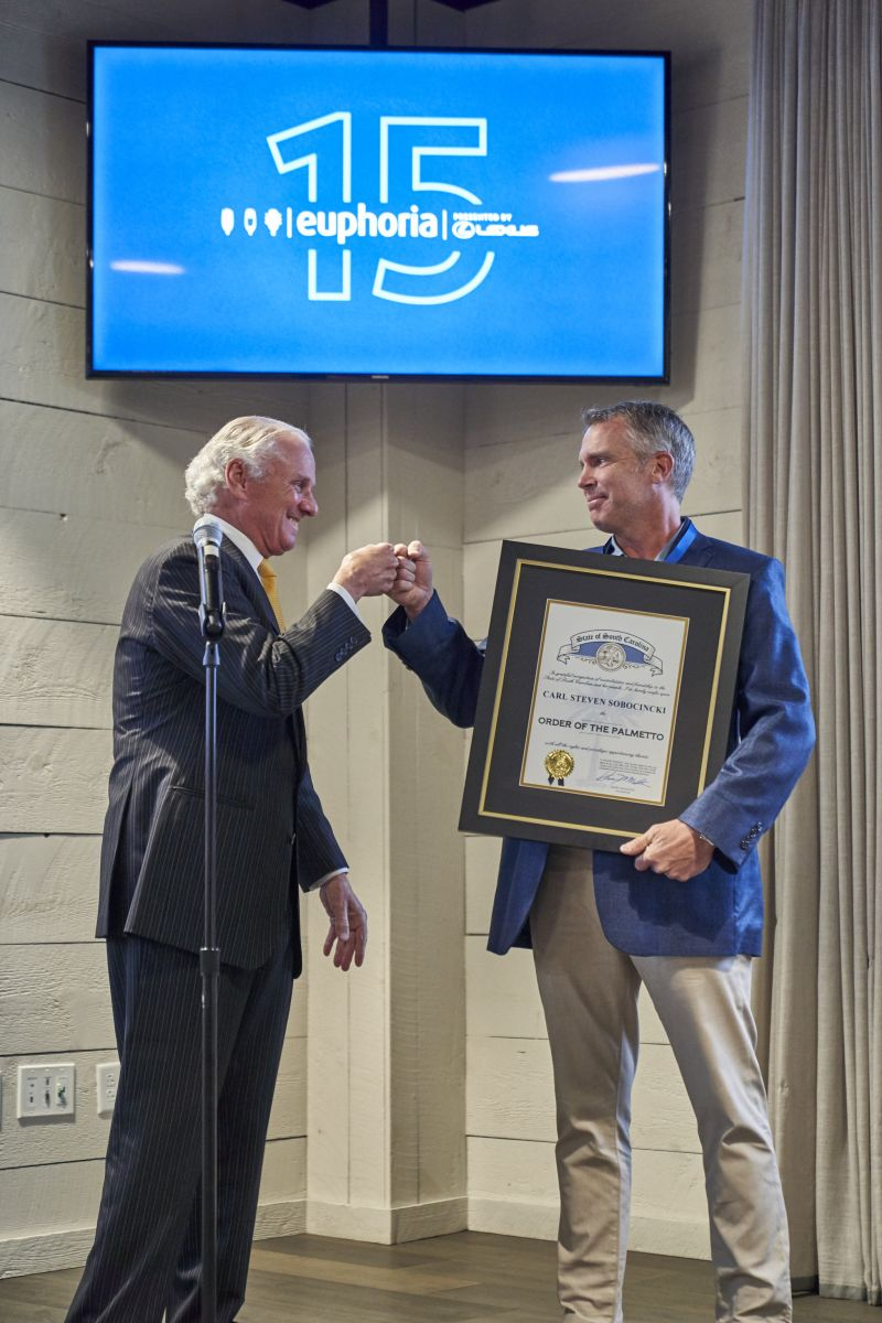 Carl Sobocinski, owner of Greenville's Table 301 Restaurant Group, was awarded the state's highest civilian honor at euphoria's kick-off event Thursday night. (Photo/Provided)