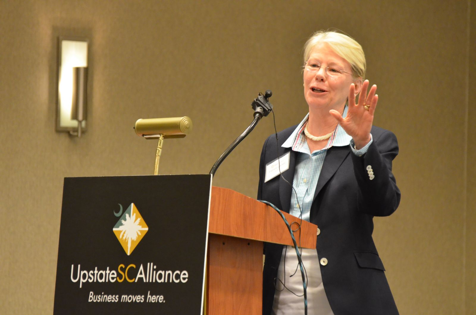 Pamela Lackey delivered the keynote address during the Upstate SC Alliance mid-year meeting. (Photo/Matthew Clark)