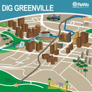 This rendering shows the path of Renewable Water Resources' $46 million Dig Greenville project. (Rendering provided)