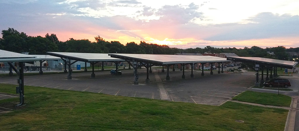 Clemson and Duke Energy Carolinas are partnering to put solar panel-covered canopies similar to these over campus parking lots. (Photo/Provided)