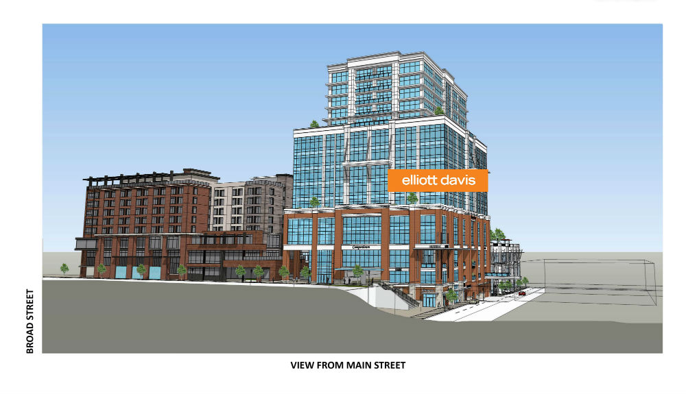 Elliott Davis will take 5,000 square feet of ground floor space facing Main Street and all of floors 4, 5 and 6. (Rendering/Provided)