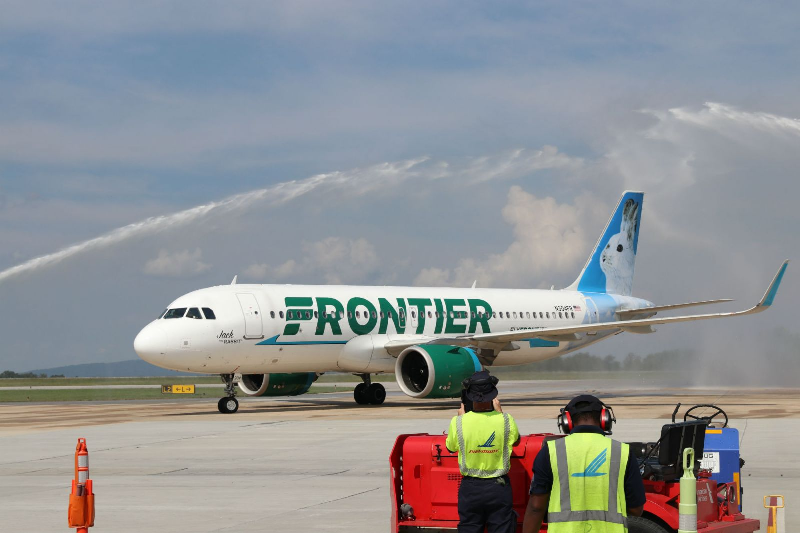 Frontier Airlines was greeted with a salute from the GSPs water cannons. (Photo/Provided)