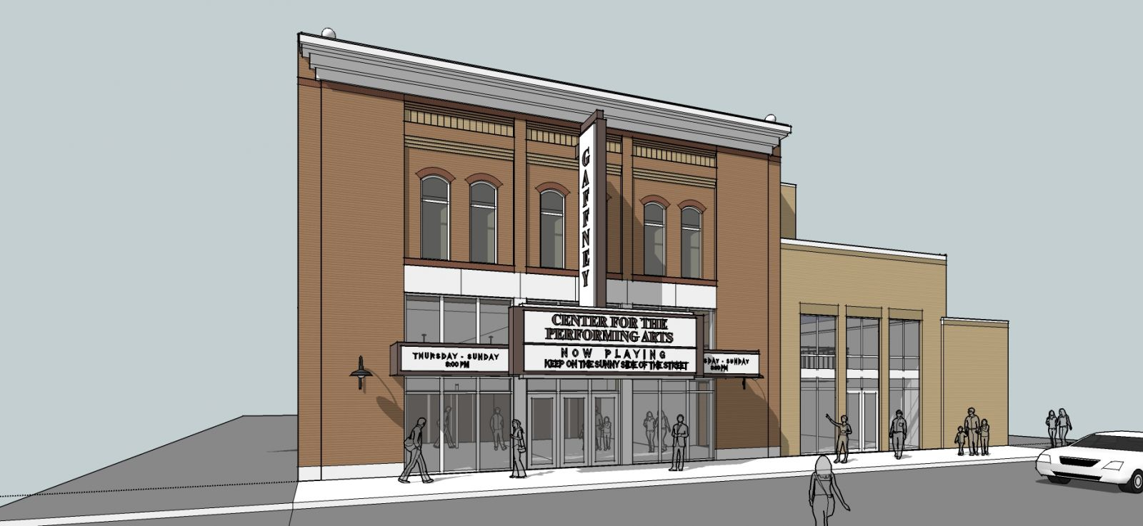 This is the rendering of a new performing arts center in Gaffney. The design was done by Craig Goulden Davis of Greenville. The price tag to build the new center is $5 million. (Photo provided)