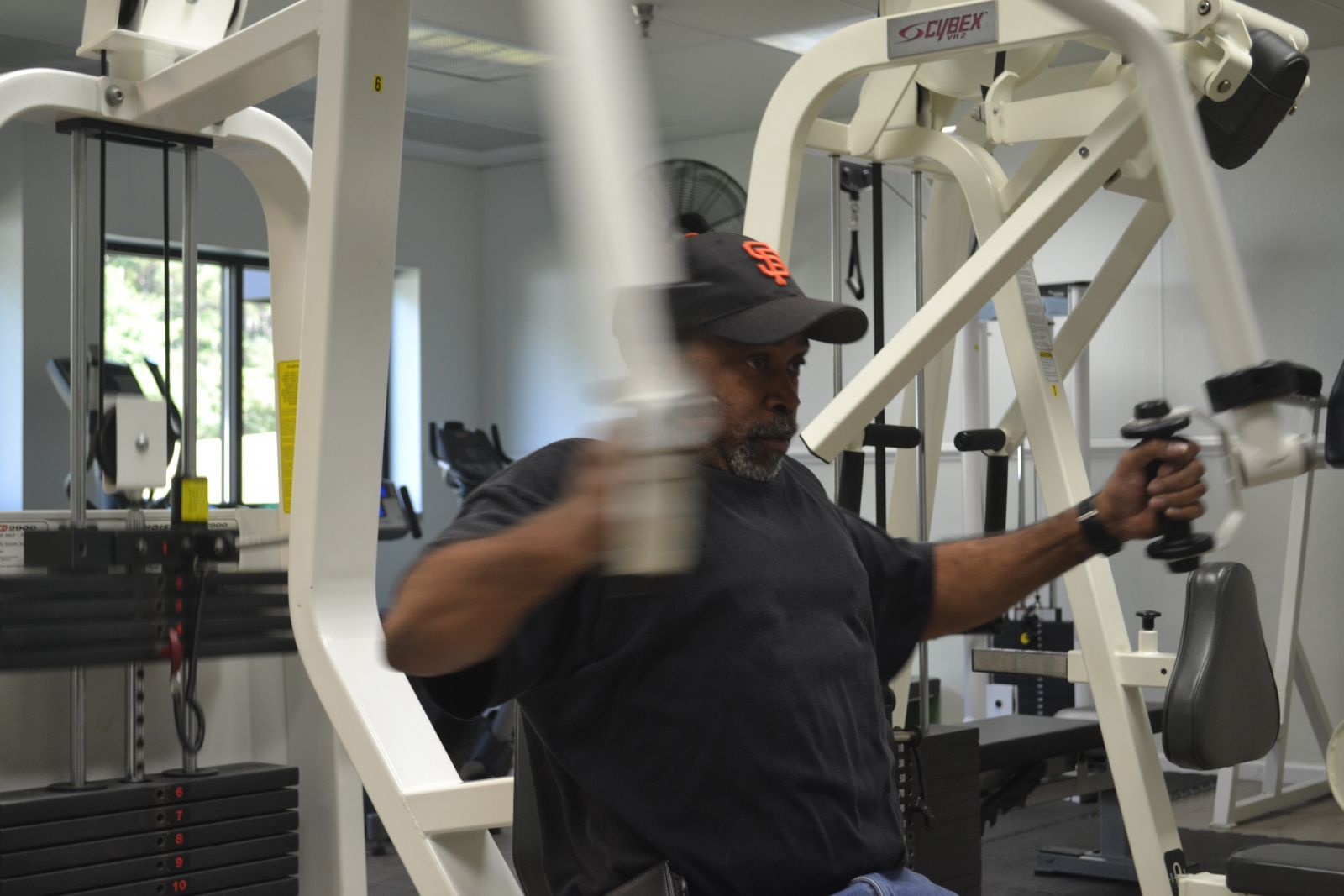 Glen Raven employee Bernard White likes to use the on-site gym at work. He also participates in cycling and basketball. (Photo by Teresa Cutlip)