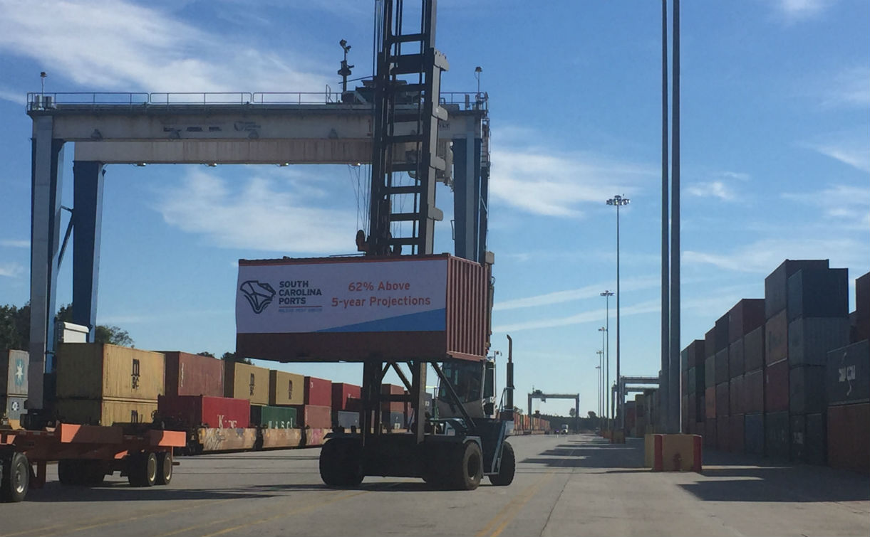 Inland Port Greer is operating ahead of the projections ports authority CEO Jim Newsome had when it opened in 2013. (Photo/Ross Norton)