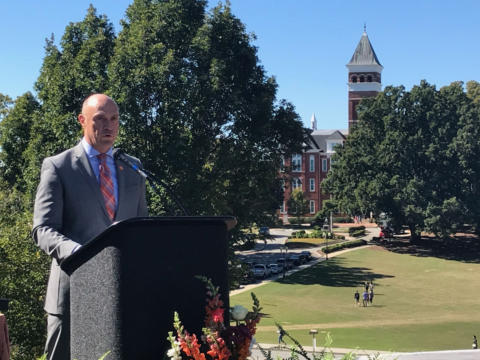 Clemson University President Jim Clements talks about the College of Business' $85 million building during a groundbreaking. (Photo/Teresa Cutlip)
