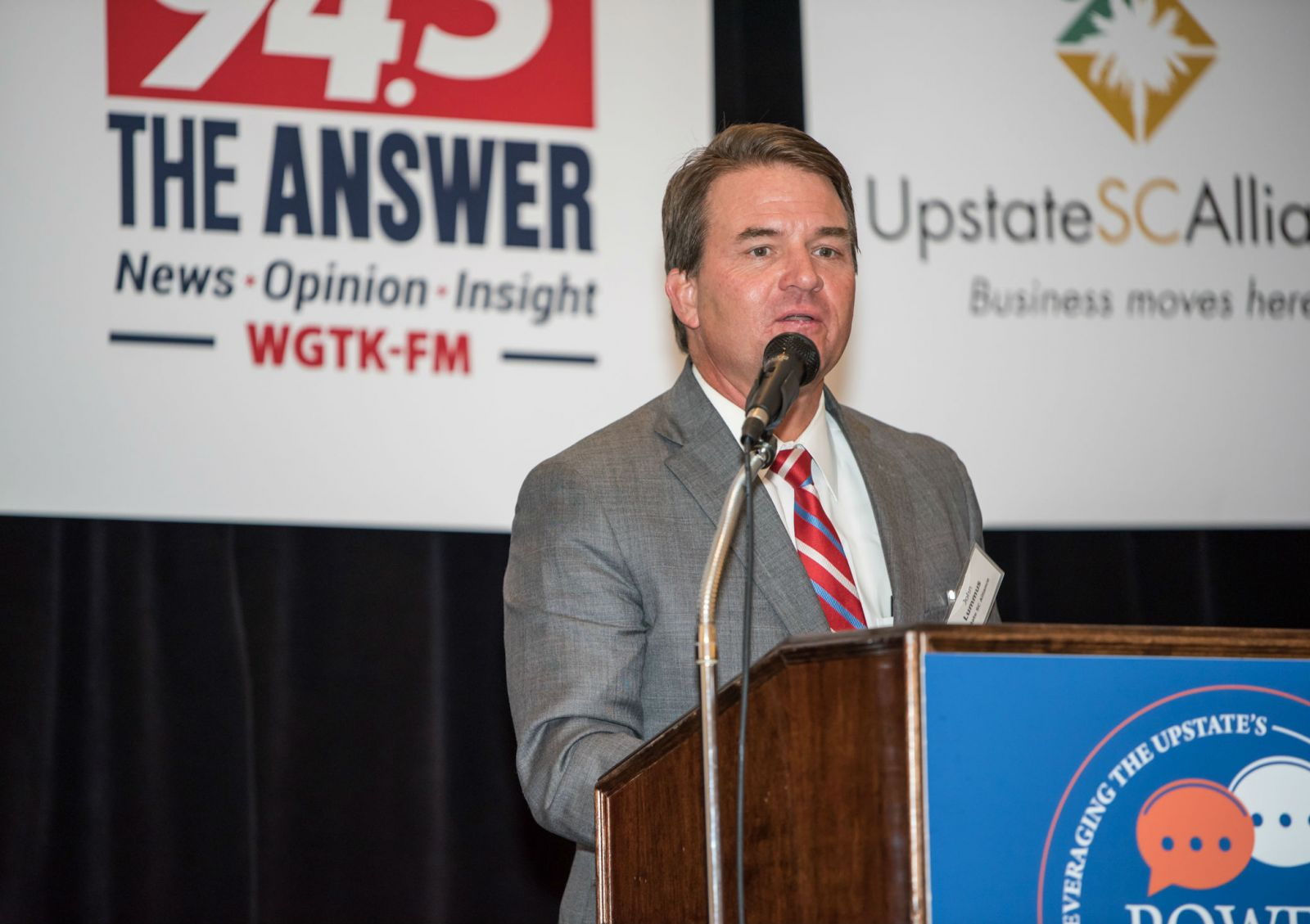 John Lummus, president and CEO of the Upstate SC Alliance, talked about the changing economy during a GSA Business Report power event. (Photo/Kathy Allen)