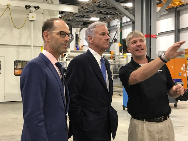 From left, Tower International CEO Jim Gouin, Gov. Henry McMaster and Tower Greenville Engineering Manager Mike Anderson tour the new 264,000-square-foot facility Tower International opened this week. (Photo/Teresa Cutlip)