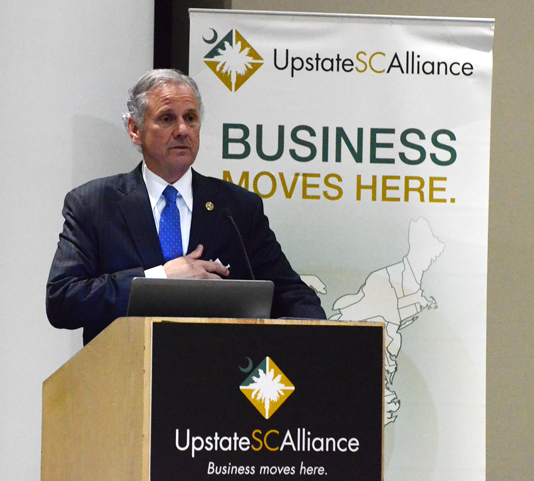 S.C. Gov. Henry McMaster delivers the keynote address during the Upstate SC Alliance's annual meeting Wednesday, March 29, 2017 at the TD Convention Center in Greenville. (Photo/Matthew Clark)
