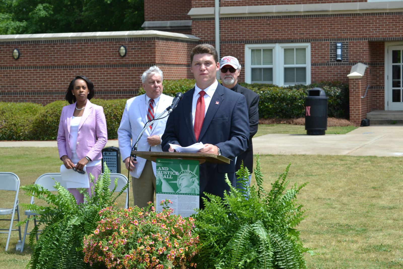 Newberry College Student Government President Benjamin Herring addresses a crowd at the groundbreaking of a new residence hall at Newberry College. (Photo/Provided)