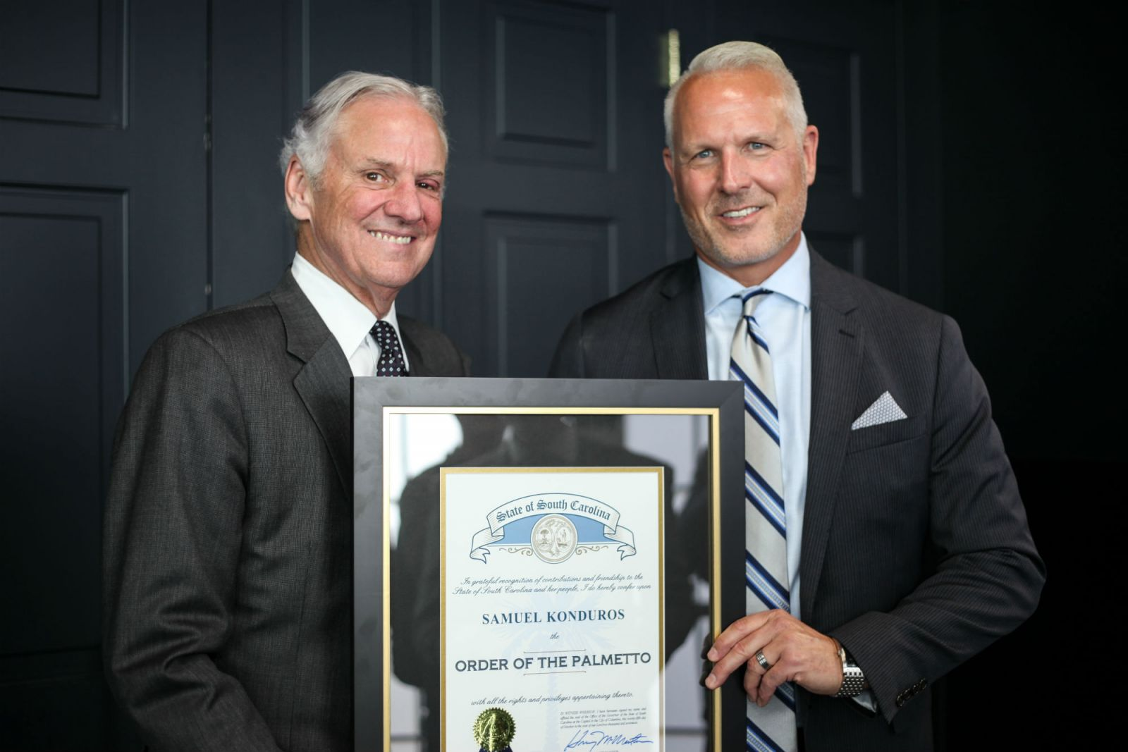 Gov. Henry McMaster recently presented Sam Konduros with the Order of the Palmetto. (Photo/Provided)