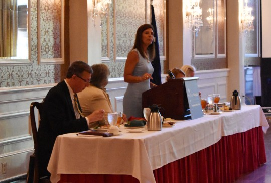 Pamela Evette addresses First Monday forum at Greenville's Poinsett Club. (Photo/Molly Hulsey)