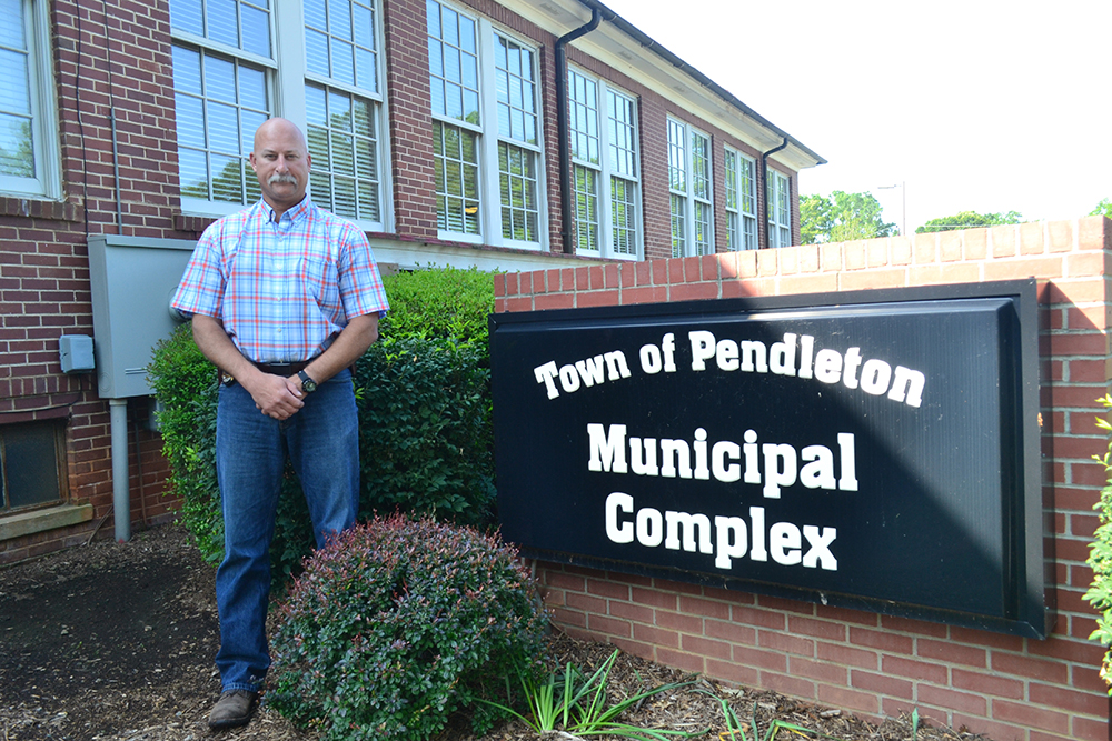 Chief Doyle Burdette has hired two officers and is working to get a police force up and running in Pendleton by September. (Photo by Teresa Cutlip)