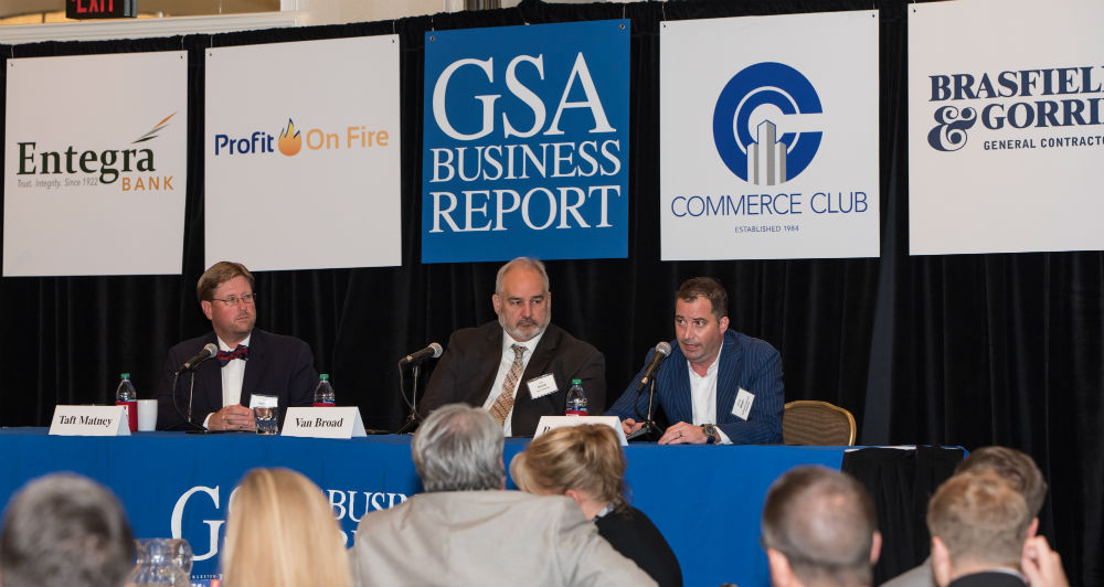 Panelists speaking about construction projects in the Upstate included, from left, Taft Matney, Mauldin councilman; Van Broad, community development director for Mauldin, and Brody Glen, president of Centennial American Properties. (Photo/Kathy Allen)