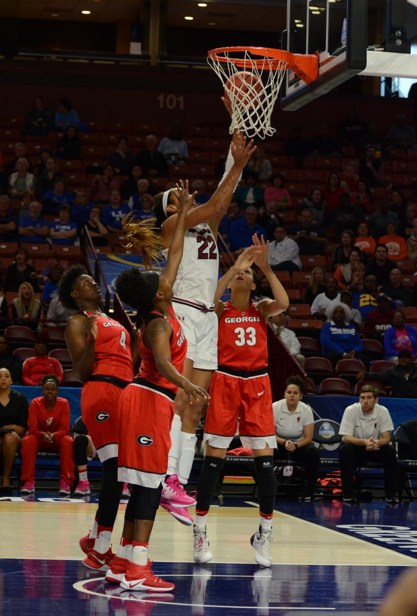 University of South Carolina junior forward A'ja Wilson drives in for a lay-up during the SEC Women's Basketball Championship at the Bon Secours Wellness Arena in Greenville. Greenville was selected by the NCAA to host a regional for the 2020 Division I Women's Basketball Championship. (Photo/Matthew Clark)
