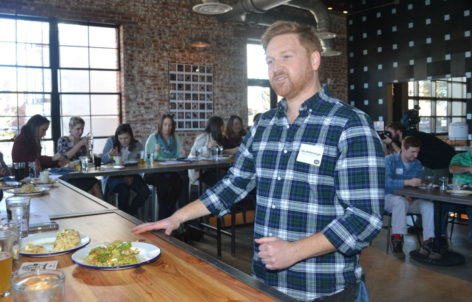 "Clay McDonough, ""food guy"" at the Silo at RJ Rockers, explains how beer inspired each dish he developed for the new restaurant. (Photo/Ross Norton)"