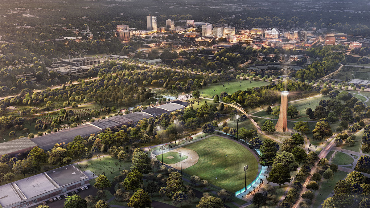 Aerial rendering of Unity Park. (Rendering/Provided)
