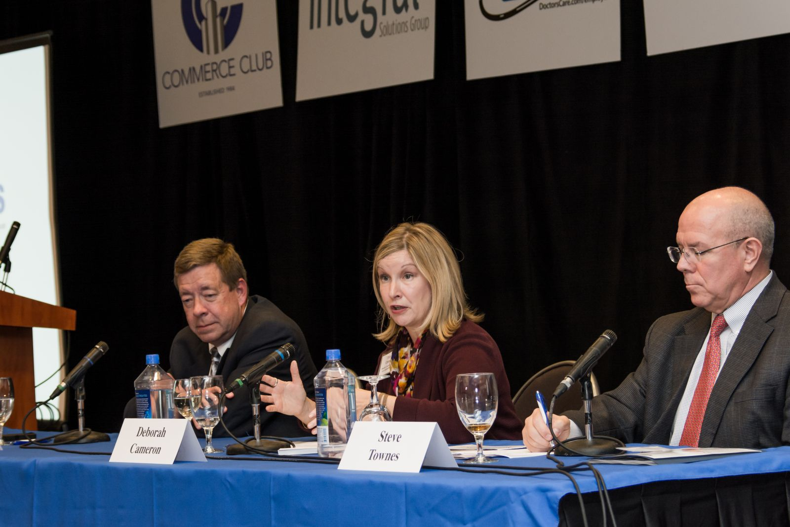 From left, Don Erickson, site director for Lockheed Martin Aeronautics in Greenville; Deborah Cameron, director of aerospace initiatives for the S.C. Council on Competitiveness, and Steve Townes, CEO and founder of Ranger Aerospace, discuss the aviation/aerospace industry during a GSA Business Report power event. (Photo/Kathy Allen)
