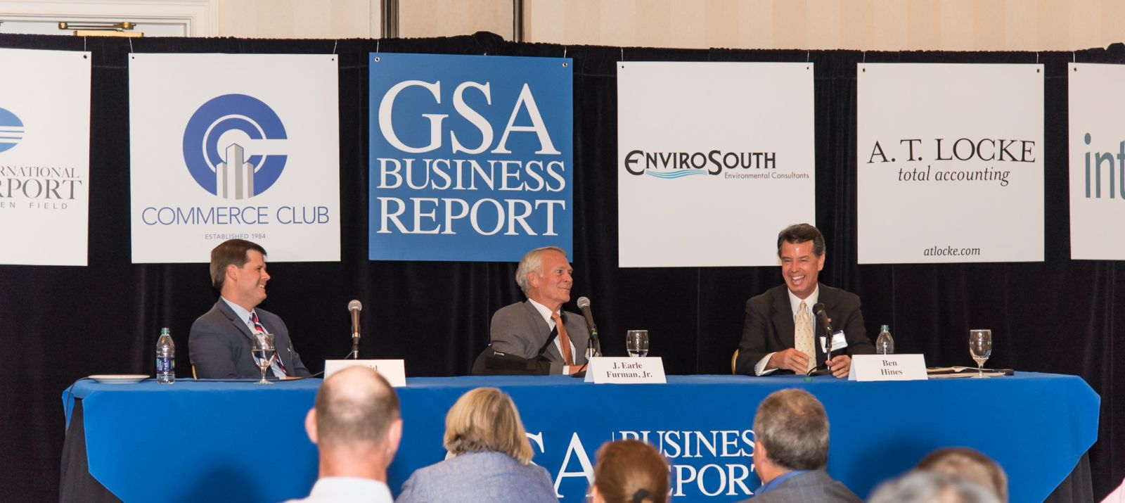 Panelists (from right) David Feild of Colliers International, J. Earle Furman of NAI Earle Furman and Ben Hines of Spencer/Hines Properties talk about the future of commercial real estate in the Upstate during GSA Business Report's Power Event Series. (Photo/Kathy Allen)